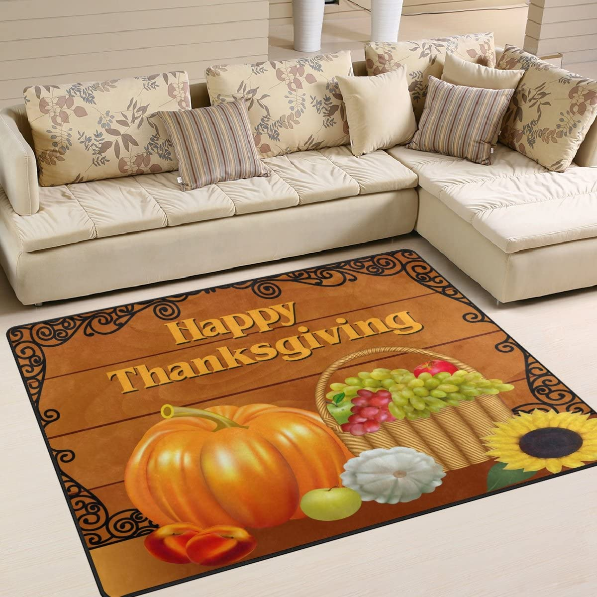 ALAZA Fall Complete Free Shipping Harvest Pumpkin Thanksgiving Area Mat Li 70% OFF Outlet for Rugs Rug
