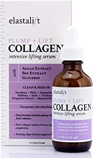 Collagen Lifting, Plumping, Firming Serum Anti-Aging Collagen Serum for Face Improves Elasticity, Evens Skin Tone, Plumps, Lifts Sagging Skin Non-Greasy Wrinkle Serum Made in USA by Elastalift