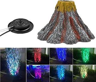 NICREW Aquarium Volcano Ornament Kit, Air Bubbler Decorations for Fish Tank, Aquarium Air Bubbler with Red LED Light