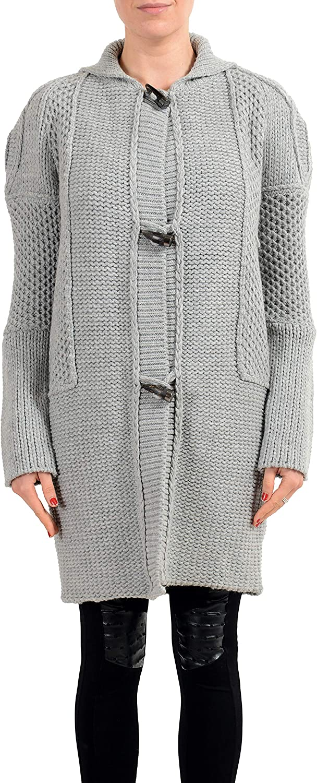 Just Cavalli Wool Gray Heavy Knitted Women's Cardigan Sweater US S IT 40