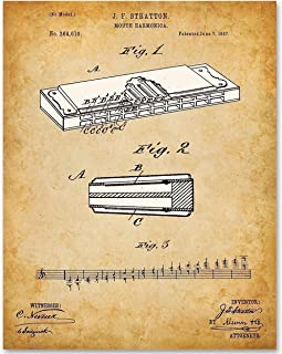 Mouth Harmonica - 11x14 Unframed Patent Print - Makes a Great Gift Under $15 for Musicians