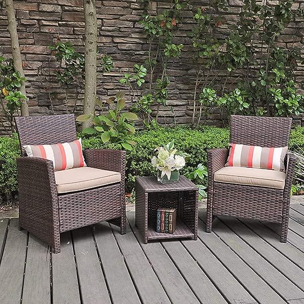 SUNSITT 3 Piece Wicker Outdoor Bistro Table Set With Beige Cushions Brown Rattan