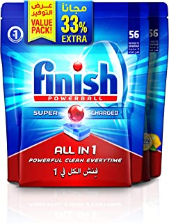 Finish Dishwasher Detergent All in One Tabs Regular & Lemon 56+56