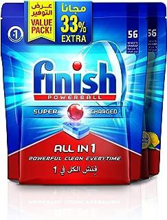 Finish Dishwasher Detergent Tablets, All in One Regular & Lemon, 56+56 (112 tablets)