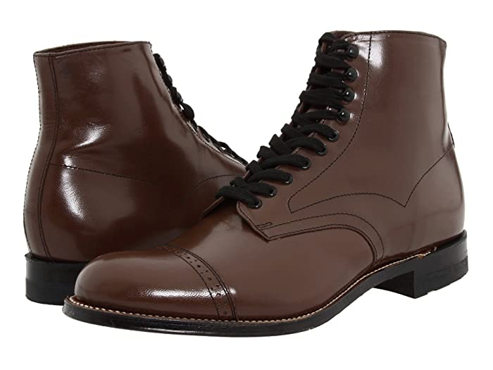 Mens 1920s Shoes History and Buying Guide Stacy Adams Madison Boot Brown Mens Shoes $135.00 AT vintagedancer.com