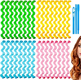 32PCS Wave Formers Hair Curlers Styling Kit, Heatless Wavy Styles Hair Curls with 2 Styling Hooks, Magic Hair Rollers for ...