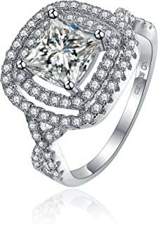 LUX AND GLAM-Sterling Silver Princess Cut Cubic Zirconia Ring with Twisted Band