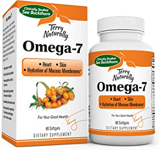 Terry Naturally Omega-7-500 mg Sea Buckthorn, 60 Vegan Softgels - Heart & Skin Support Supplement, Enhanced with Omegas 3,...