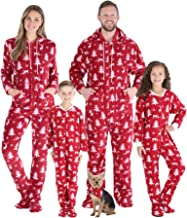 SleepytimePJs Family Matching Fleece Cranberry Deer Hooded Footed Onesie Pjs