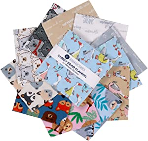 Windham Fabrics Windham Cubby Bear Flannel 5'' Squares Multi 42pcs