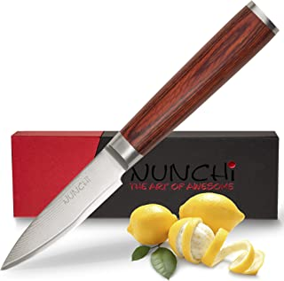 Professional Paring Knife, 3.5 Inch, Japanese VG-10 Stainless Steel Damascus Blade - Ultra Sharp Small Kitchen Knives with Pakkawood Handle