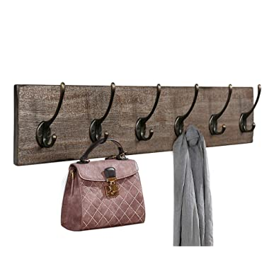 Coat Rack Wall Mounted,Wooden 27  Coat Hooks Scroll Hook - 6 Rustic Hooks, Solid Pine Wood. Perfect Touch for Entryway Bathroom Closet Room Smoky Classic Oak