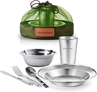 Unique Complete Messware Kit Polished Stainless Steel Dishes Set  Tableware  Dinnerware  Camping  Includes - Cups   Plates  Bowls  Cutlery  Comes in Mesh Bags