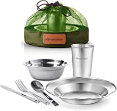 Stainless Steel Tableware Mess Kit Camping Dish Set Includes Plate Bowl Cup Cutlery's Mesh Kit Great for Indoor & Outdoor Scouting Trip Backpacking Picnic Camping