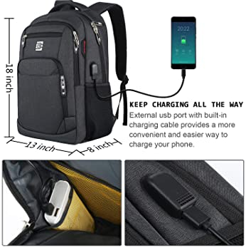 Laptop Backpack,Business Travel Anti Theft Slim Durable Laptops Backpack with USB Charging Port,Water Resistant Colle...