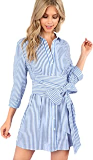 9722823b0a0 Romwe Women s Cute Striped Belted Button up Collar Summer Short Shirt Dress
