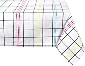 "Color Pop Plaid Square Tablecloth, 100% Cotton with 1/2"" Hem (60x84"" - Seats 6 to 8)"