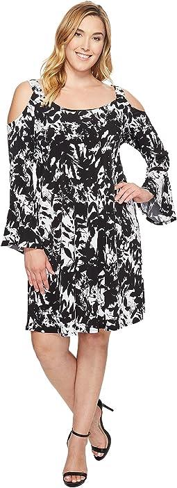 Plus Size Cold Shoulder Flare Sleeve Dress