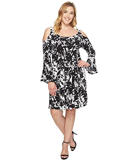 Karen Kane Plus Plus Size Cold Shoulder Flare Sleeve Dress At 6pm