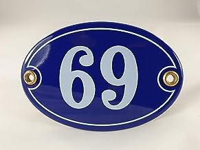 Emaille huisnummer bord nr. 69, ovaal, blauw-wit Nr. 69 Blau-Weiß + Schrauben und Dübel