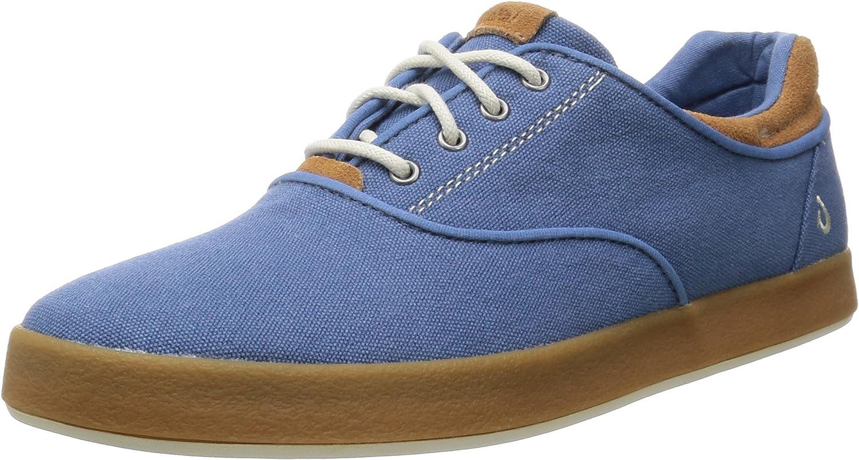 OluKai Men's Canvas Makani Lace up Sneaker Channel 9.5 D(M) Us Channel bluee Mustard