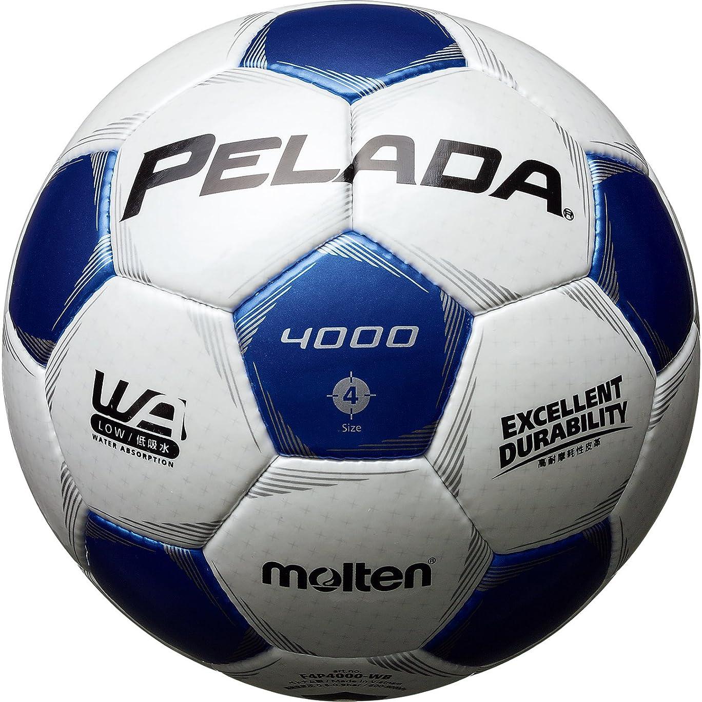 潤滑するマーベル本能molten(モルテン) サッカーボール ペレーダ4000   4号 白×青 F4P4000-WB