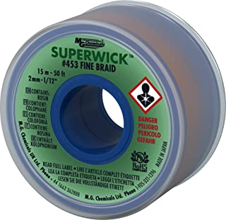 MG Chemicals Desoldering Braid #3 Fine Braid Super Wick with RMA Flux, 50' Length x 0.075