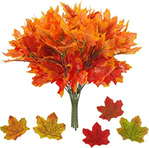 Artificial Maple Leaves Branch 4 Pcs 7 Forks Faux Fall Plants Stem with 100 Pcs Maple Décor Outdoor UV Resistant Greenery Shrubs Plants for Home Festival Autumns Table Thanksgiving Centerpieces Decor