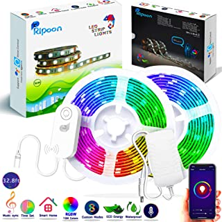 Ripoon Smart LED Strip Lights | 32.8ft RGB W LED Light Strip Flexible Color Changing Light Music Sync | Waterproof Rope Lights Kit App Controlled, Work with Alexa Google Home | Strong 3M Adhesive Tape
