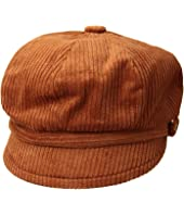 CTH8126 Wide Wale Corduroy Baker Boy Cap with Floral Embroidery Button