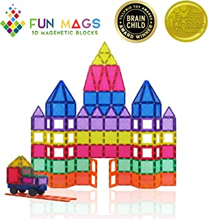 Fun Mags Magnetic Blocks 100-Piece Set 3D Magnetic Building Blocks, STEM Educational Magnetic Tiles Magnet Toys for Kids, Toddlers