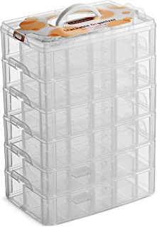 LifeSmart USA Stackable Storage Container Clear 60 Adjustable Compartments Compatible with Lego Dimensions Arts and Crafts Piping Tips Hardware Storage and More (Standard 6 Tier)