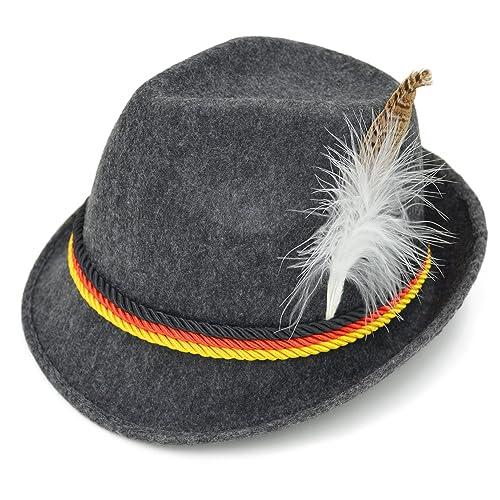246486bb3b0 Melesh Adult Felt Swiss German Alpine Bavarian Oktoberfest Hat Cap