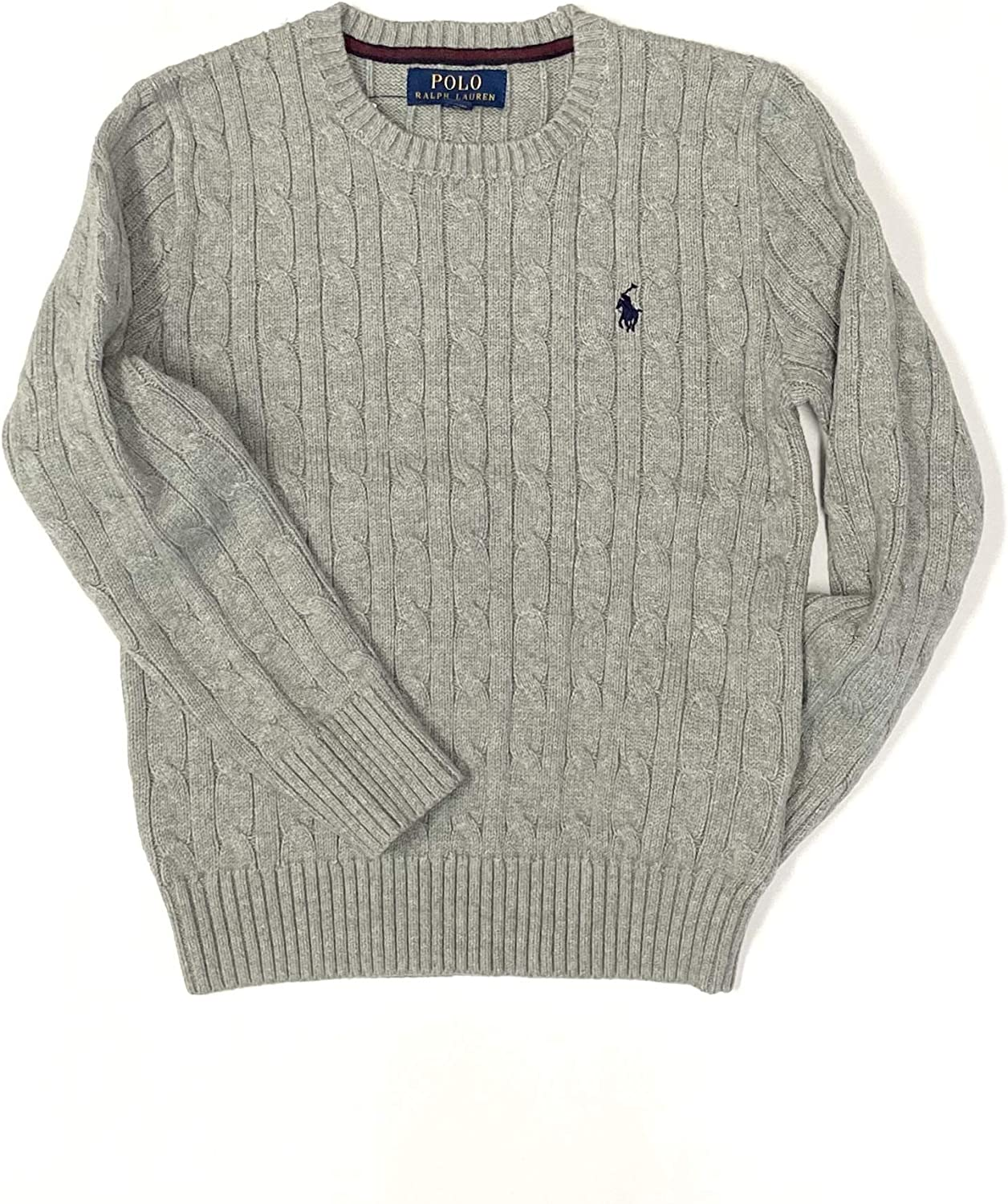 Polo Ralph Lauren Boys Cable Pullover Crew Sweater Size 18-20 (X-Large) Grey