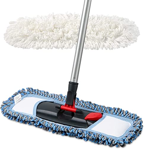 CLEANHOME Dust Mop for Floor Cleaning Microfiber Professional Dry & Wet Flat Mops for Tile Floors with a Extra Chenil...
