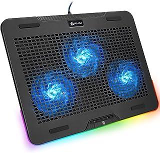 """KLIM Aurora + Refroidisseur PC Portable - 11"""" à 17"""" + Éclairage RGB + Support Ordinateur Portable Gaming + Ventilateur USB..."""