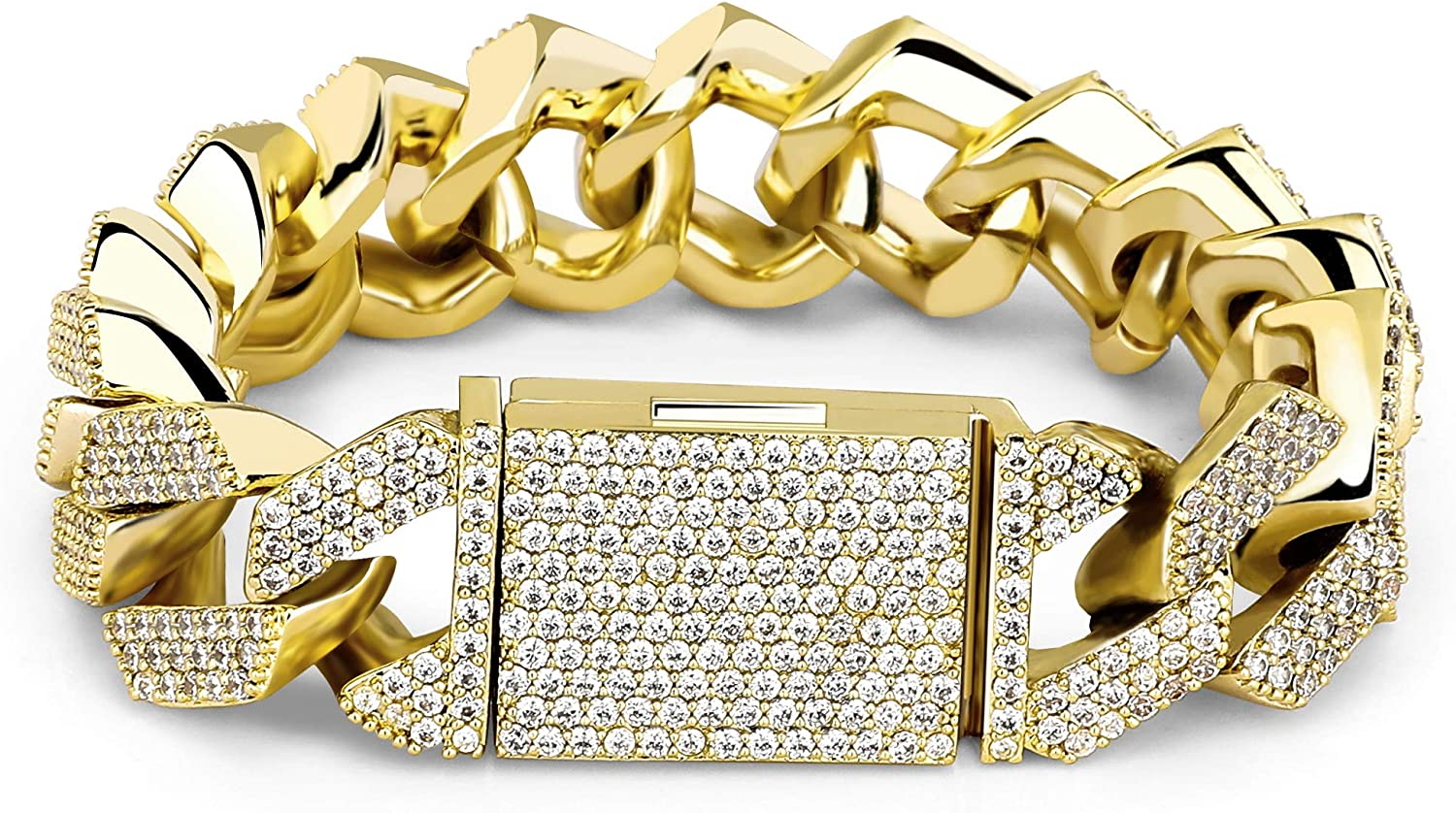 TOPGRILLZ San Spring new work one after another Diego Mall 20mm 6 Times 14K Gold Plated Prong Setti Full Out Iced