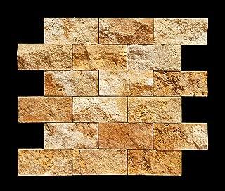 Gold/Yellow 2X4 Travertine Split Face Mosaic Tile