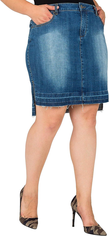 Standards & Practices Plus Size Women's High Low Released Hem Denim Mini Skirt