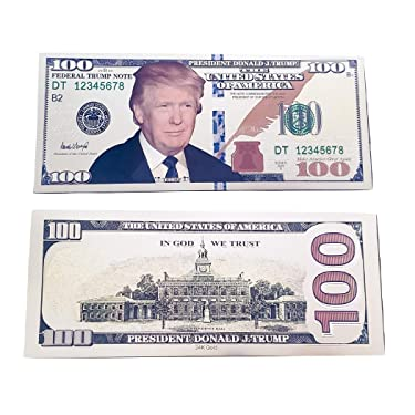 TrendyLuz USA Pack of 10 Donald Trump Face Gold Color Presidential $100 Dollar Bills