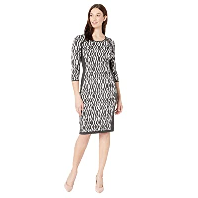 Gabby Skye Full Fashion Sweater Dress (Heather Graphite/Ivory) Women
