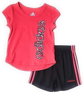 adidas Little Girls 2pc Short Sleeve Shirt and Short Set