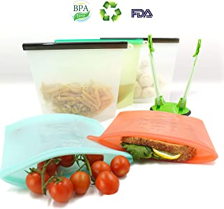 5 Silicone Bags Reusable - Reusable Silicone Food Bag - Reusable Freezer Bags - Reusable Lunch Bags - Silicone Food Storage Bag - Zip Top Containers