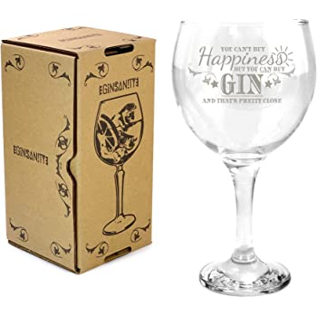 Ginsanity 22oz (645ml) Gin & Tonic Copa Balloon Cocktail Glass & Giftbox You Can't Buy Happiness