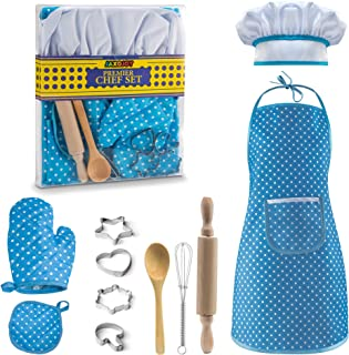 JaxoJoy Complete Kids Cooking and Baking Set - 11 Pcs Includes Apron for Little Boys, Chef Hat, Mitt & Utensil for Toddler Dress Up Chef Costume Career Role Play for 3 Year Old Boys and