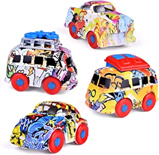 3.62 Inch Friction Powered Cars, Graffiti Diecast Cars, Push and Go Cars for Goodie Bag Toys, Kids Party Favors Including Mini Bus, Station Wagon, Muscle Car, Passenger Car