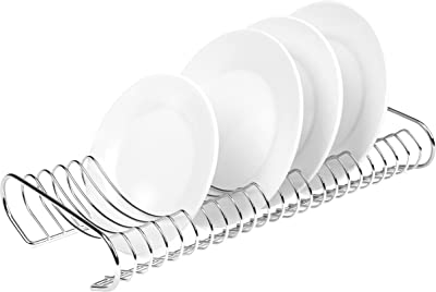 Kitchen Dish Plate Storage Organizer and Drying Rack, Chrome-Plated
