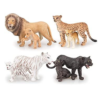 """TOYMANY 8PCS 2-5"""" Plastic Safari Animals Figure Playset Includes Baby Animals, Realistic Lion,Tiger,Cheetah,Black Panther Figurines with Cub, Cake Toppers Christmas Birthday Toy Gift for Kids Toddlers"""