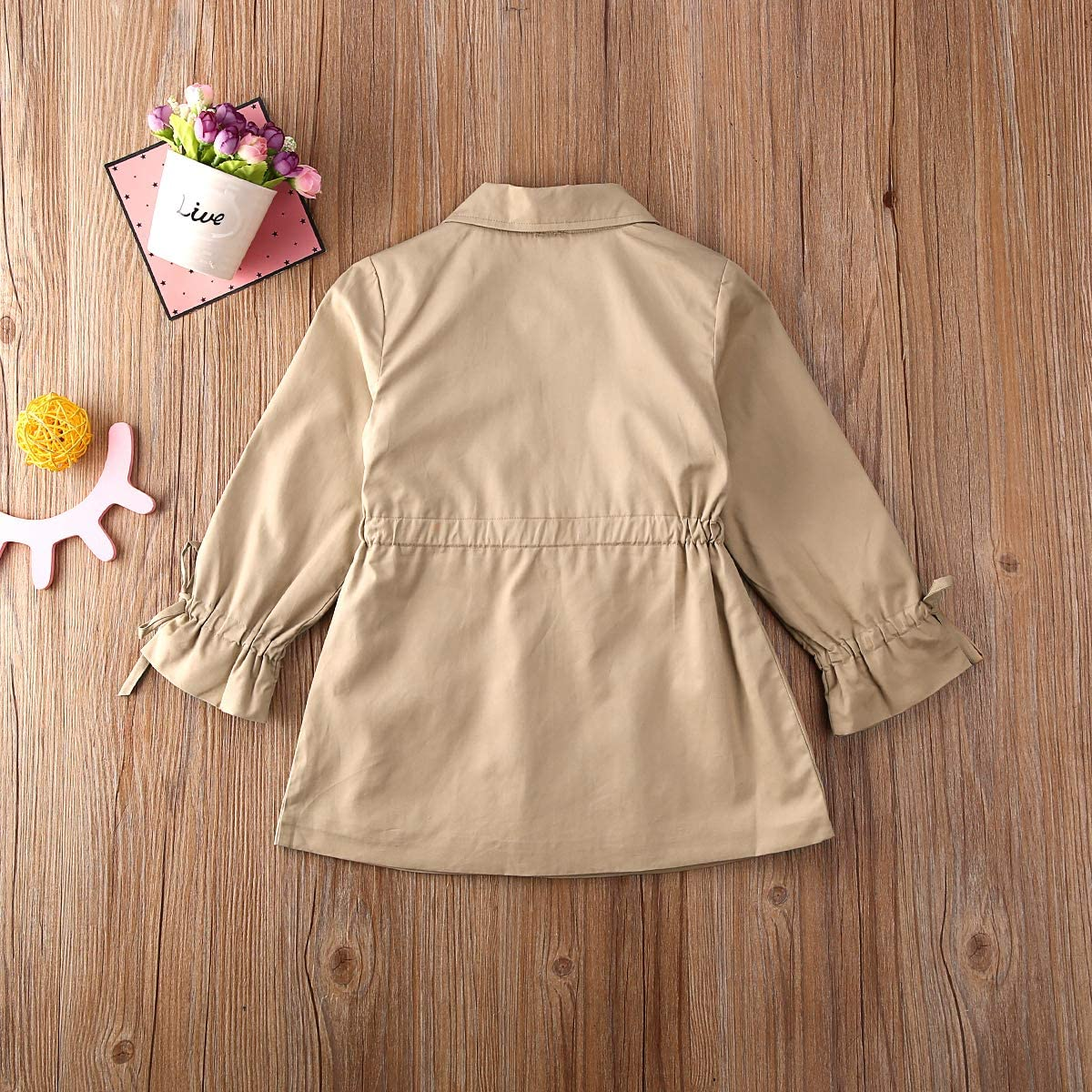 Geagodelia Cappotto Bambina Maniche Lunghe in Tinta Unita Giubbotto Giacca Ragazza Primaverile e Autunnale Stile Britannico 2-7 Anni