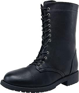 Women's Combat Boots Military Mid Calf Low Heel Strap Winter Bootie for Women